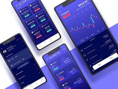 Crypto mobile concept ultramarine product clean ux ui mobile app cryptocurrency crypto coin