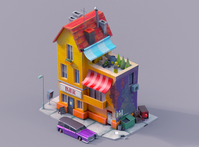 Bad Neighborhood city building 3d art street neighborhood