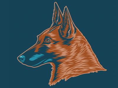 Belgian Malinois Illustration for Golden Doodle Goods™ puppy animal lover brand artwork tee illustration vector mans best friend pet animal belgian malinois dog