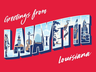 Greetings from Lafayette cajun illustration lettering landmarks louisiana lafayette postcard vintage travel