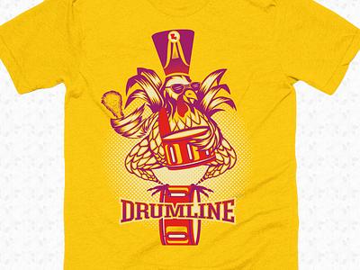Drumline apparel design merch bird feathers drumline chicken drums music illustration