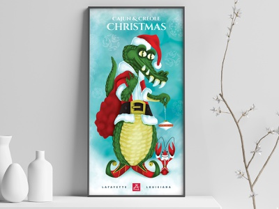 Cajun and Creole Christmas - Poster holiday art character illustratioin poster christmas lafayette louisiana crawfish alligator creole cajun