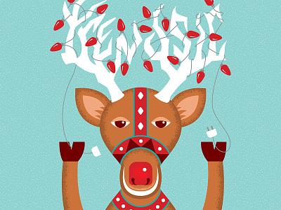 TRENDSIC™ Rudolph ch reindeer happy holidays christmas card art seasons greetings holiday antlers christmas rudolph