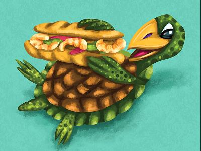 Snappin' PoBoy design illuatration sandwhich lafayette louisiana shrimp shell food turtle poboy