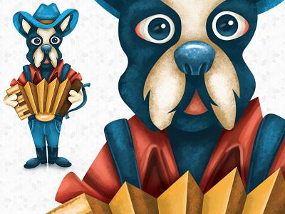 Zydeco Pup festival lafayette illustration animal louisiana dog illustration creole boston terrier accordion cajun dog puppy pup music zydeco