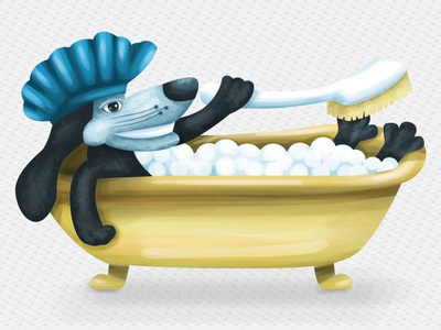 Pup-n-Suds weenie dog datson puppy pup bathing suds bubbles pet design dog animal illustration