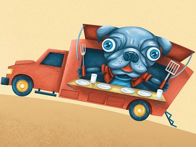 Food Truck Pup pug food trucks food puppy lafayette dog animal illustration