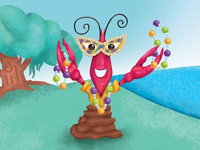 Mardi Craw crayfish mask parade fat tuesday carnival mardi gras mudbug crawfish cajun lafayette louisiana illustration