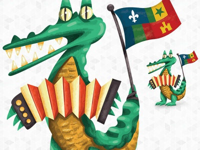 Creole Gator culture zydeco accordion acadiana creole alligator gator lafayette animal louisiana illustration
