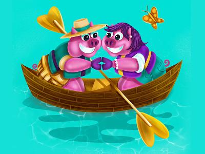 Cochon Canoe childrens illustration procreate outdoors love paddling cajun animal lafayette louisiana illustration