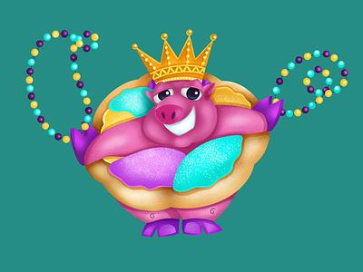 Mardi Gras King-n-Cake character carnival parade pig lafayette louisiana fat tuesday king cake illustration mardi gras