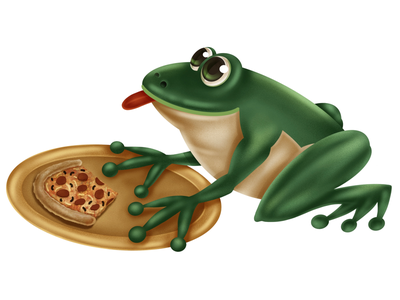 Toadally character dining toad eating pizza frog illustration