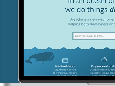 Whale splash whale transactional emails whale logo branding iconography mascot website ui ux sign up splash landing page