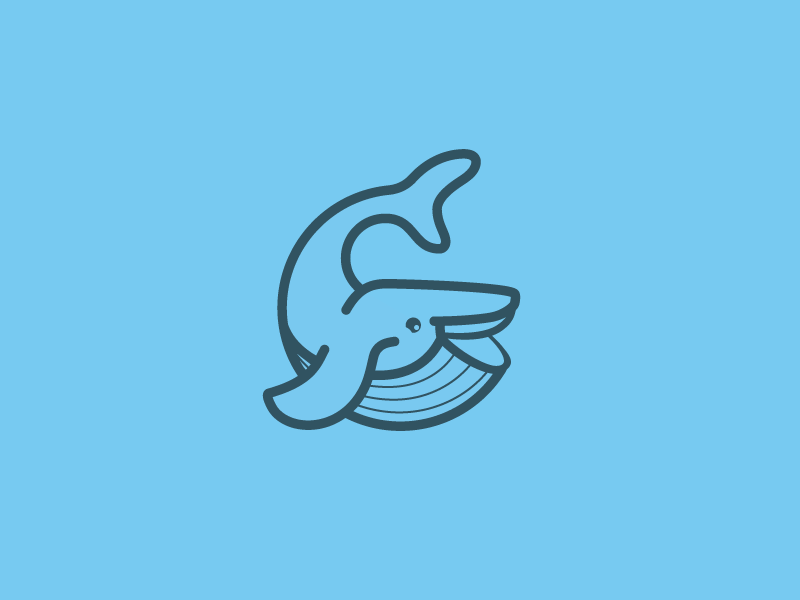 Whale logomark transactional email email whale logo thick lines vector illustration branding whale icon logomark logo identity systems