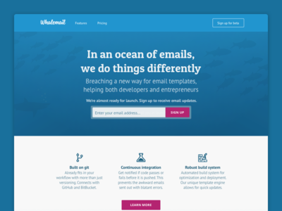 Whalemail Marketing Site: Index