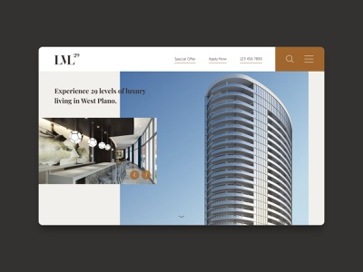 LVL 29 — Landing Page luxury residential apartments web home page design website ui ux home homepage web design landing page