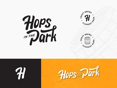 Hops in the Park — Logo Suite custom lettering beer festival colorado denver hops lettermark wordmark responsive logo badge craft brews brewing beer event barrel h logo emblem brand mark identity logo branding