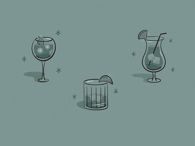 Cocktail Illustrations garnish ice alcohol doodles beverages mojito negroni sangria mai tai drinks illustration cocktails