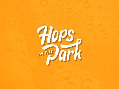 Hops in the Park beer festival beer hops brand logotype branding logo wordmark