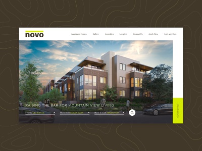 Novo Website apartments landing page responsive ui ux homepage home web design website web