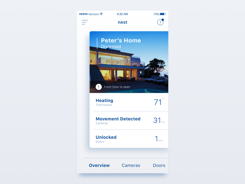 Home Monitoring Dashboard - 021 light ui bright ui card card ui daily ui sketch iphone ios ui ui design concept security home monitoring dashboard at a glance