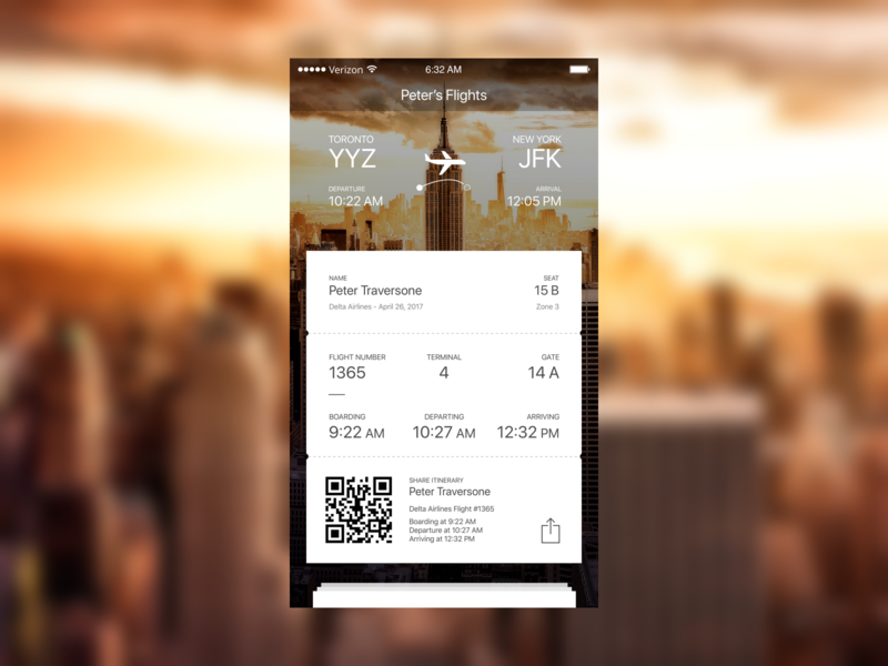 Boarding Pass - 024 daily ui ios concept sketch uidesign ui mobile pay ticket boarding pass iphone mobile mobile ui