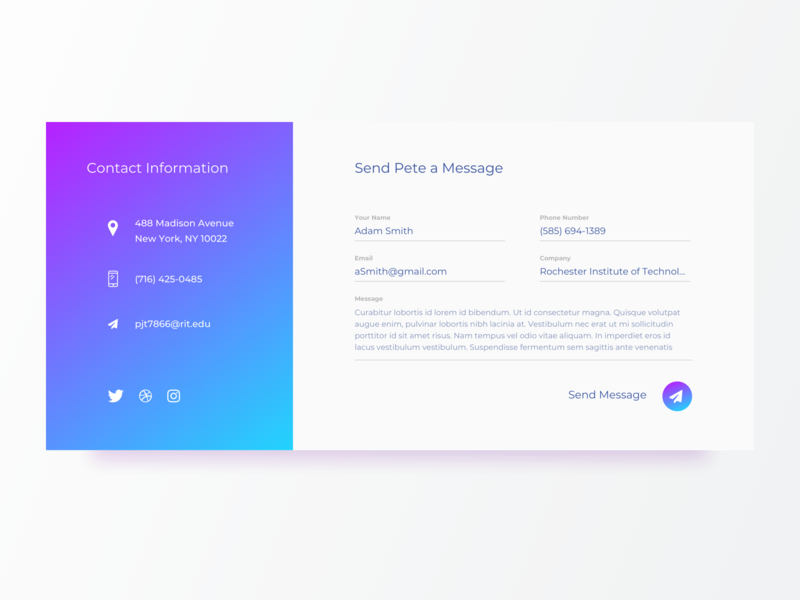 Contact Us - 028 icons gradient ui gradient design gradient uidesign contact us form webdesign daily ui
