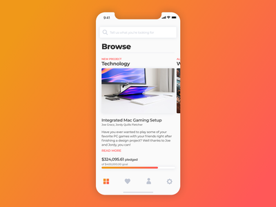 Crowdfunding - 032 design mobile ux mobile ui sketch concept search tiles card mobile feed feed gradient design gradient gradient ui iphonex ui design mobile app design daily ui