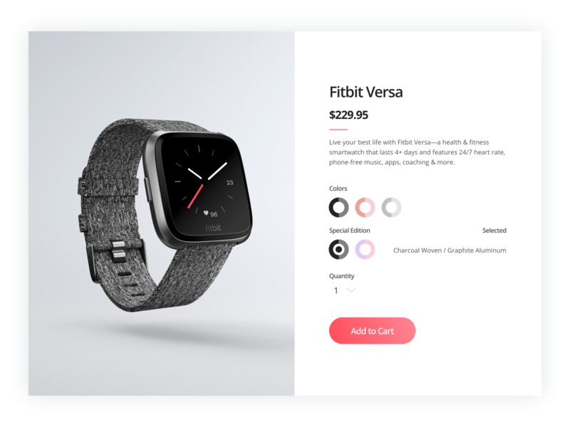 Customize Product - 033 check out clean ui bright ui product customization customize product sketch ui gradient gradient ui smart watch fitbit ui design web ui webdesign daily ui