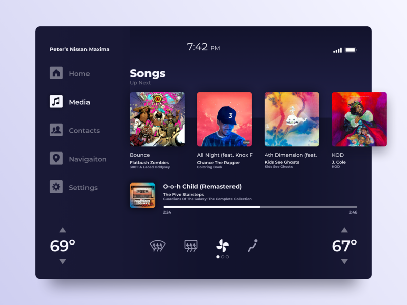 Car Interface - 034 gradient dark gradient concept app design ui design music player music ui album art sketch dark design dark ui gradient ui car interface car daily ui