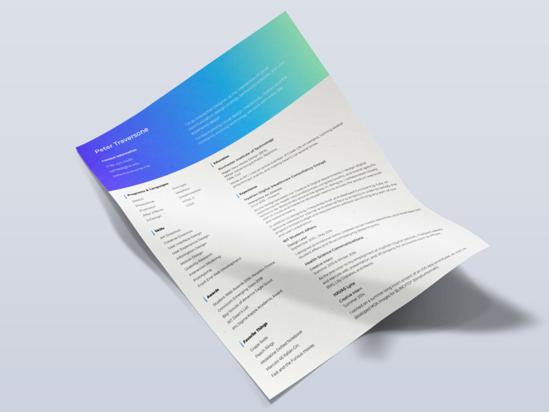 Pete's updated resume bright colors bright indesign grid gradient design gradient print design resume