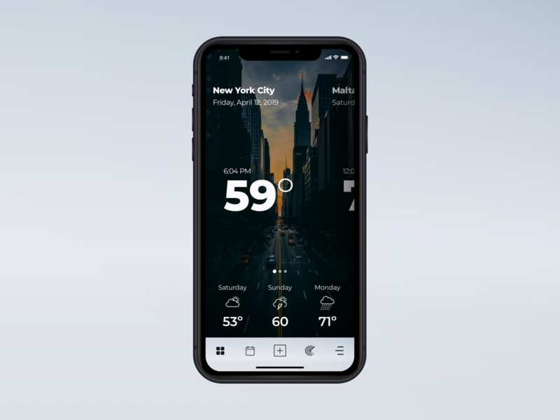 Weather - 037 design concept art manhattan nyc new york city minimal app design user interface ui inspiration minimal ux design ui  ux design iphone xr interface ui8 dark imagetypography weatherapp weather concept sketch daily ui