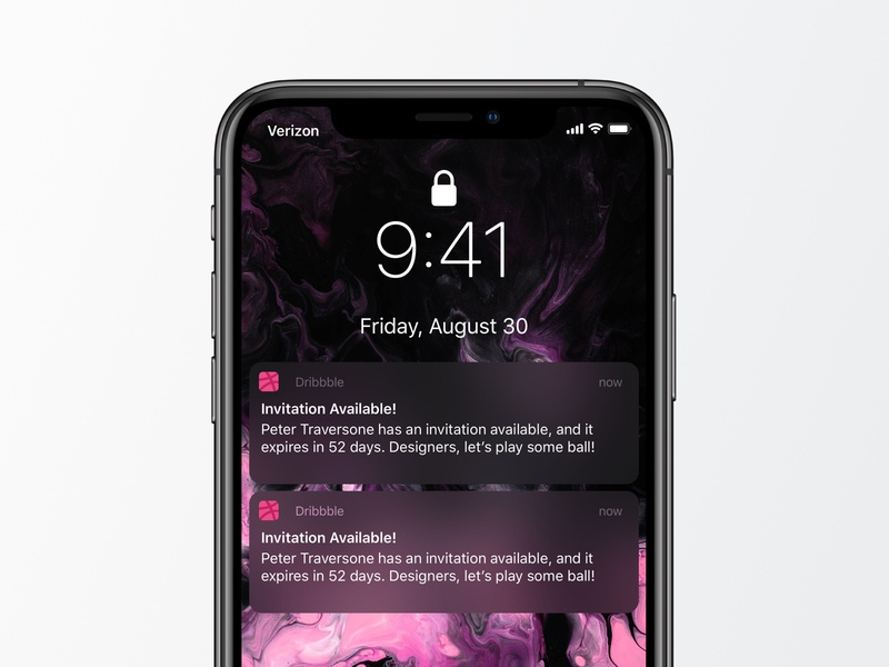 2 Dribbble invites! notifications iphonexr daily ui ios