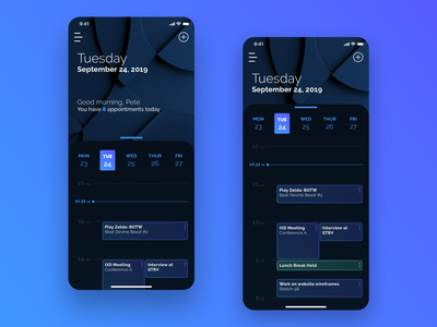 Dark Mode Calendar - 038 app design minimal ui uxdesign ui dark ui dark mode dark image calendar concept sketch dailyui