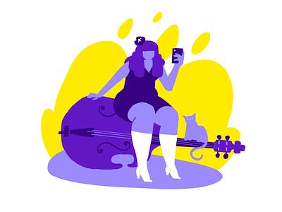 Bass and Kitties bass player bass ui illustration