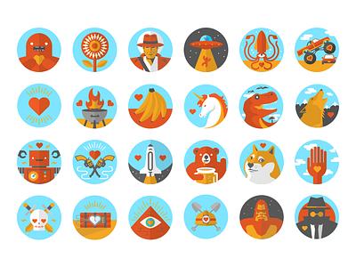 French Girls Achievement Icons badges icons achievement sasquatch squid samsquanch french girls flat bonerjams