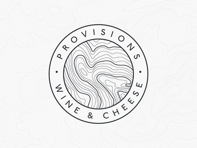 Provisions Wine & Cheese Logo farming topography brand mark mark brand branding logo cheese wine