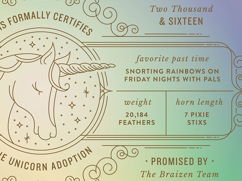 Unicorn Adoption Certificate By Braizen Dribbble Dribbble