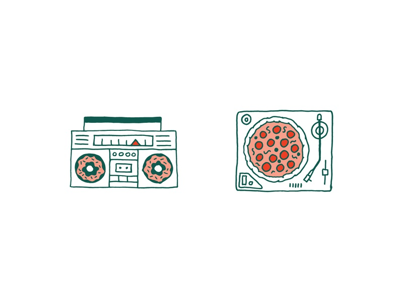 Pizza & Donuts restaurant braizen illustration branding turntable boom box doughnuts pizza