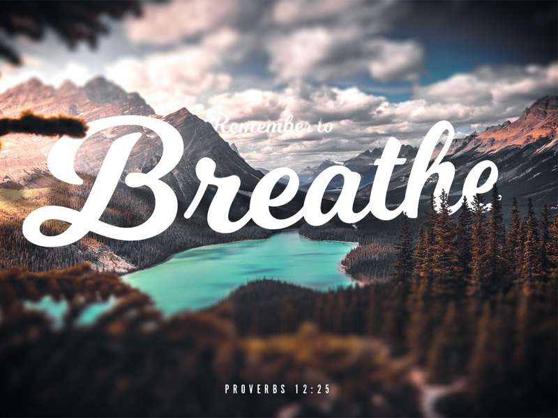 Breathe hope daily landscape typography verse