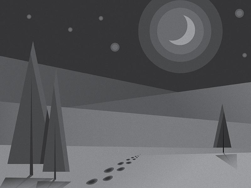 Wandering gradients moonlight moon sky footprints blackandwhite landscape trees vector vectors illustration