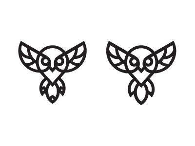 Owl Process outlines minimal abstract nature vector process icon logo bird animal owl