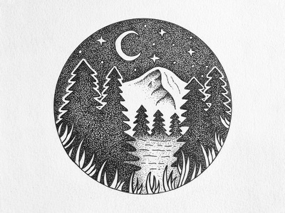 Night sky night sky nature outdoors design landscape pen stipple drawing ink