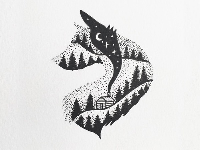 Wolf stipple sky pen outdoors night nature landscape ink drawing design