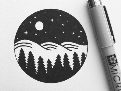 Night sky stipple sky pen outdoors night nature landscape ink drawing design