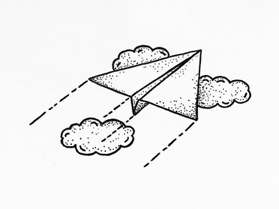Flying micron pen sketch linework black dots clouds plane flying stipple