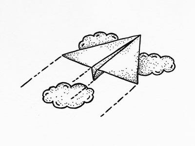 Flying micron pen sketch linework black dots clouds plane flying stipple