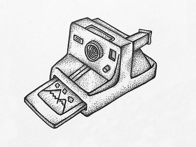 Camera dots sketch drawing polaroid shading design ink pen stipple camera