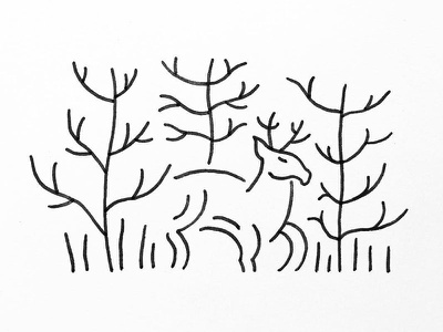 Deer in the woods penandink outdoors nature indianaartist illustration doodle indiana sketch drawing ink stipple pen line art