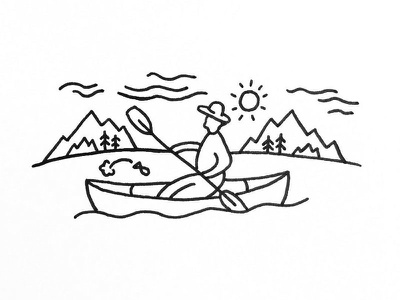Guy on a boat illustration doodle outdoors nature pen penandink indianaartist indiana sketch drawing ink